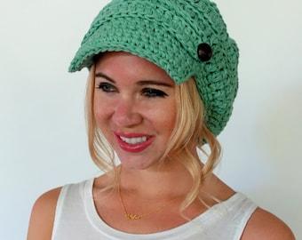 d8ba7f535964f Cotton Slouchy Hat Newsboy Hat 100% cotton Womens Hat Two Button Band Cap  Seasonal Hat Tam Crochet Knit Hat Mint or CHOOSE Your color