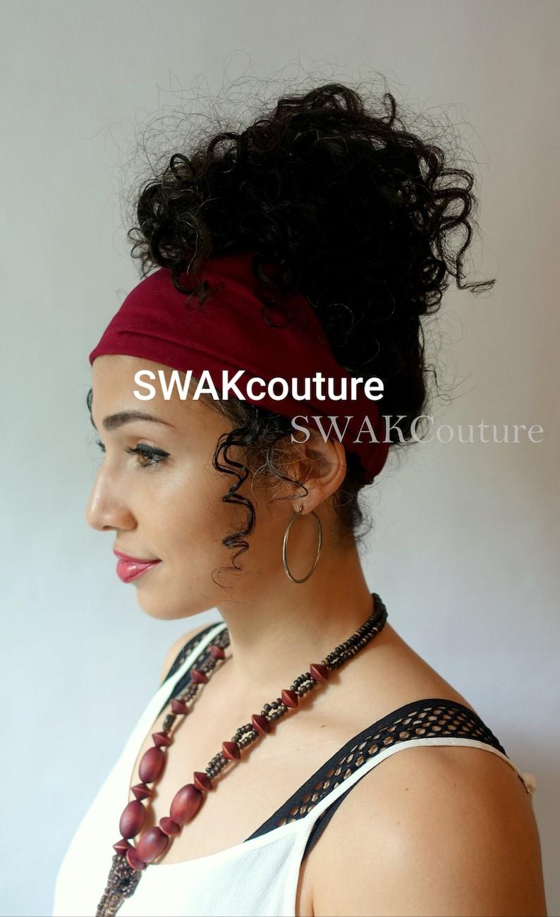 Satin Lined Narrow Headband Solid Color Pineapple Bun Wrap image 0