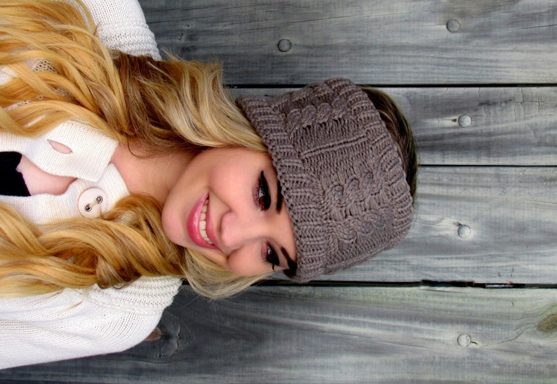 On Sale Messy Bun Wrap Thick knit Wide  Headband Cable Knit Ear warmer Mortar