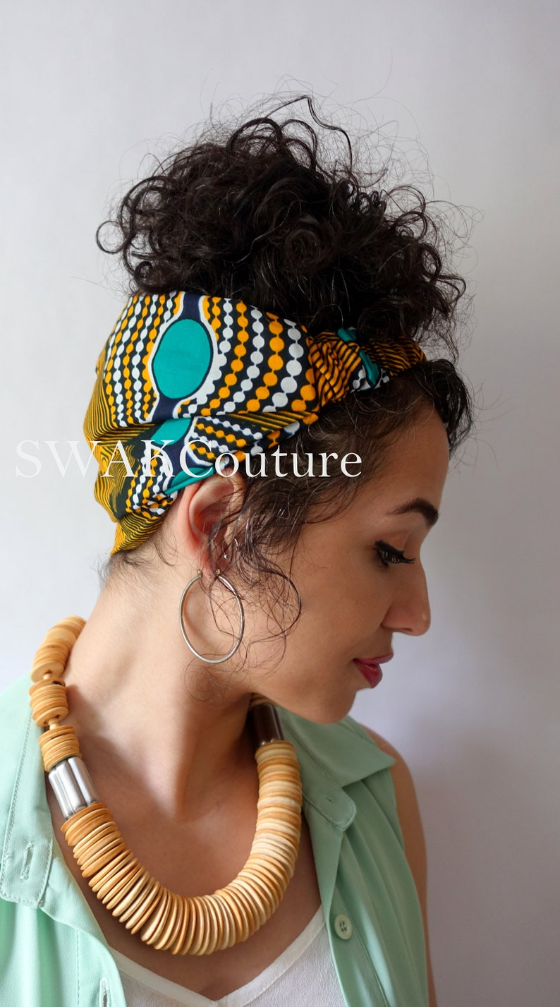 Satin Lined Wide Headband Wrap Ankara Head Wrap Pineapple Bun image 0