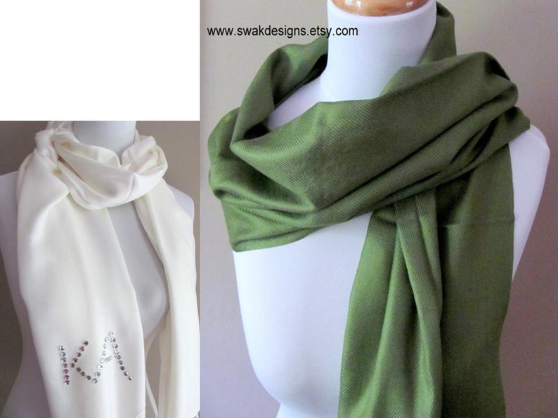 Wedding Pashmina Moss Green Pashmina Scarf Wedding Shawl Bridal Shawl Wrap  Bridal Accessories Bridemaid Gift Idea - or CHOOSE Your Color