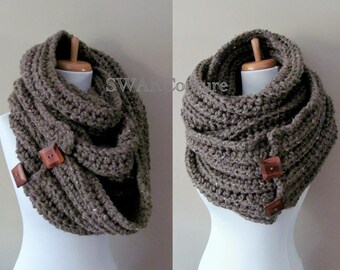 Womens Scarf Infinity Scarf Oversized Wool Scarf Unisex Wood buttons Convertible Tundra Eternity Scarf- Wood or CHOOSE Color Pinterest Fav
