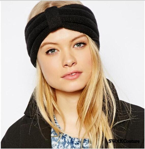 c9a3db6889311 Black Head Wrap Messy Bun Hat Knit Winter Ear Warmer Chunky