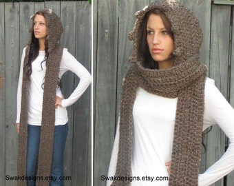 Hooded Scarf Chunky Scarf Gifts for Her Womens Scarf Handmade The MESSENGER Scoodie Long Wool Scarf Wood Brown or CHOOSE Color