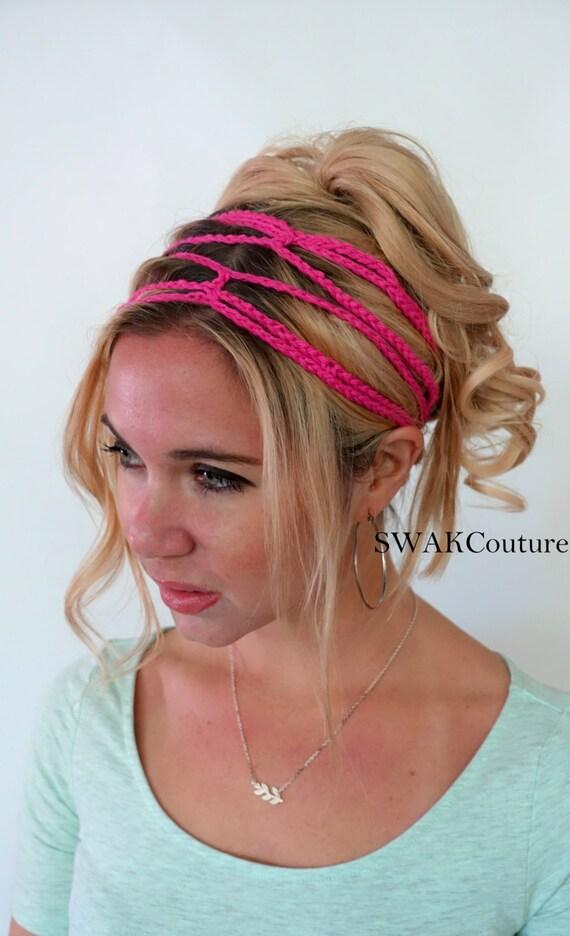 Crochet Headband Boho Hippie Headband Goddess Chain Headband  2107b47e26b