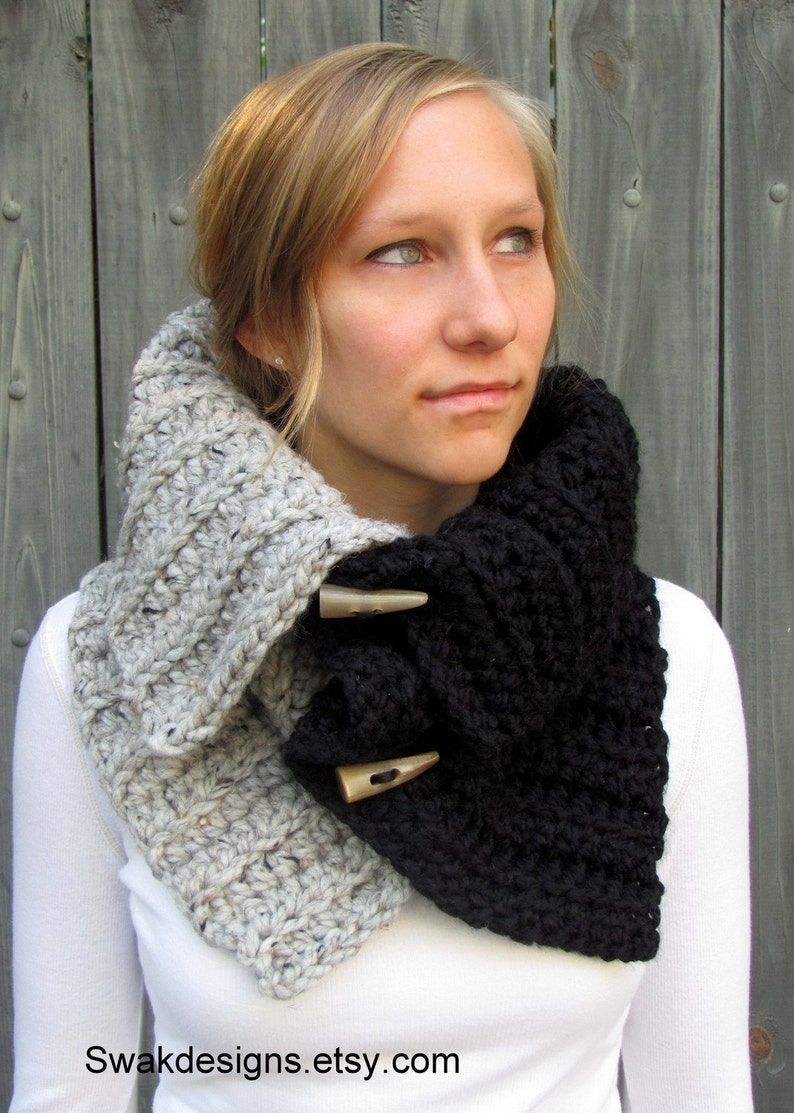 Chunky Cowl Hooded Cowl with Horns Womens Scarf Hooded Scarf image 0