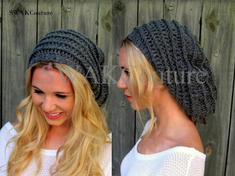 Slouchy Beanie Satin Lined Winter Hat Slouchy Ribbed Cap image 0