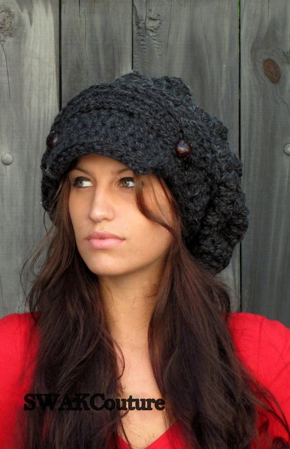 Slouchy Hat Winter Hat Womens Satin Lined Newsboy Hat Chunky  c2cab867a93
