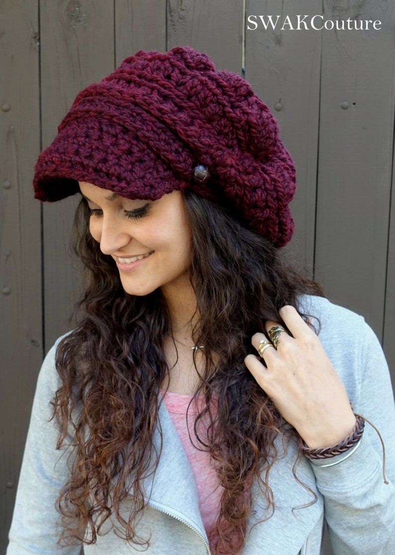 f026e1e3b735f Winter Hat Newsboy Hat Slouchy Beanie Cap Chunky Hat Womens