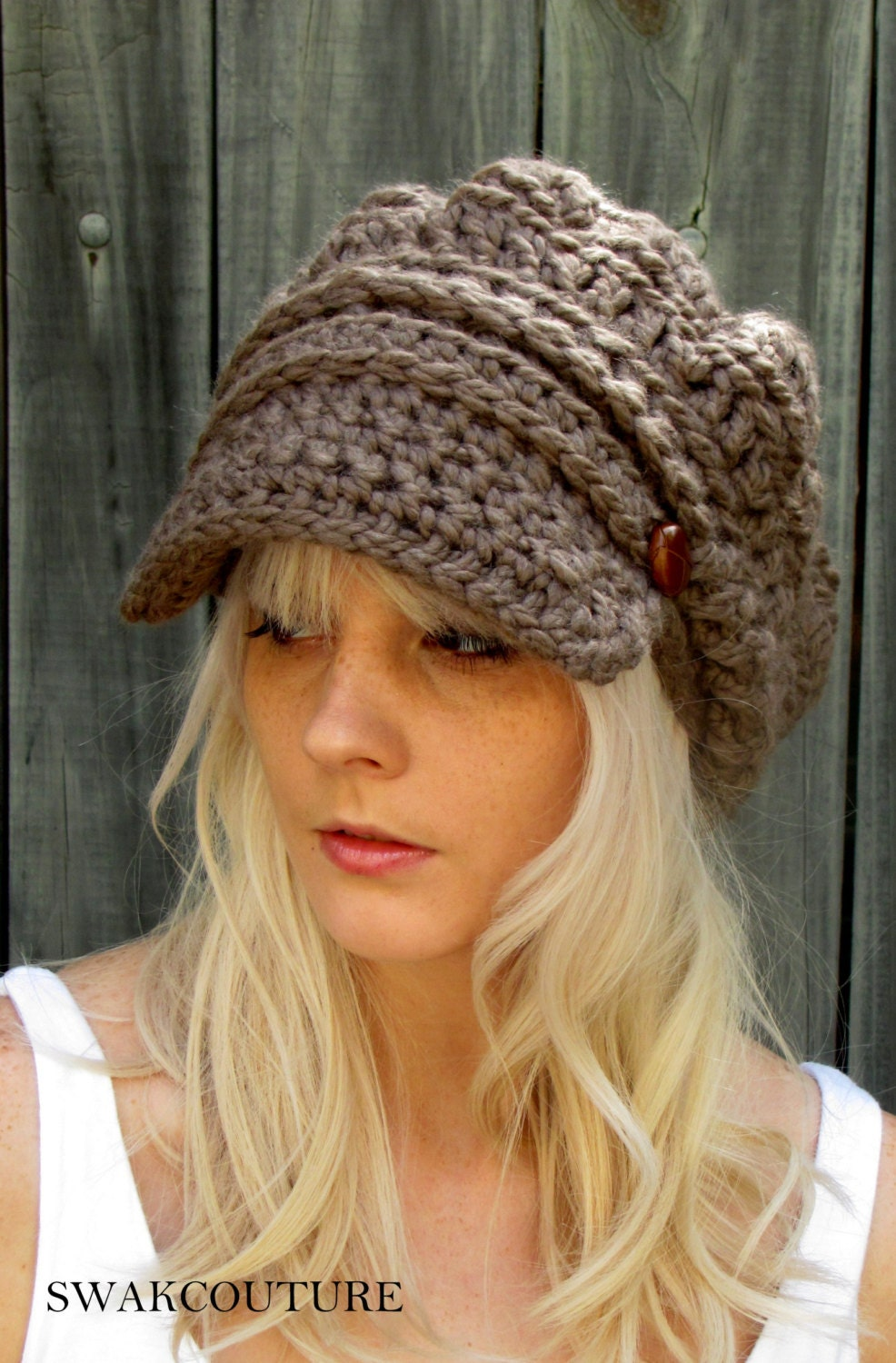 Newsboy Slouchy Hat Crochet Beanie Hat Two Leather Button Band  04a8beac279