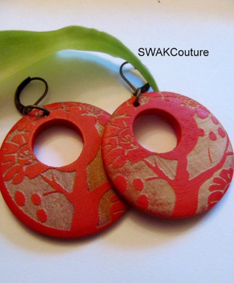 Large Wooden Tree of Life Earrings  Red & Golden Bohemian image 0