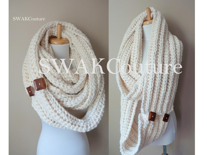 Infinity Scarf Oversized Wool Scarf Unisex Scarf Wood buttons image 0