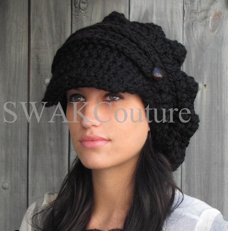 Slouchy Beanie Womens Hat Crochet Newsboy Hat Handmade Wool image 0