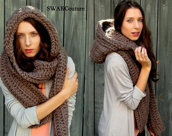 Oversized Hooded Scarf, Lofty Handmade Scarf, Womens Scoodie Scarf, Long Thick Winter Scarf - Mortar Brown or Choose Color