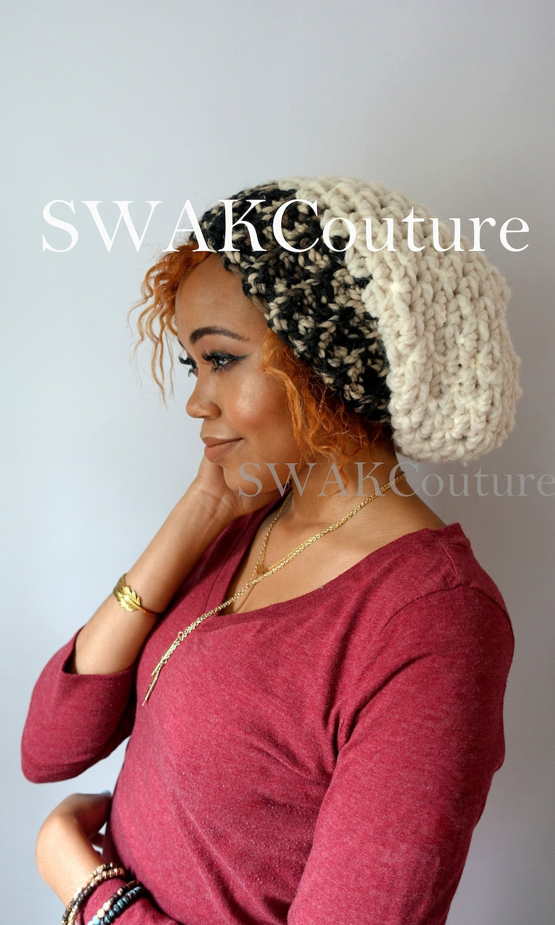 Slouchy Chunky Beanie Downtown Slouchy Cap Satin Lined Beanie image 0