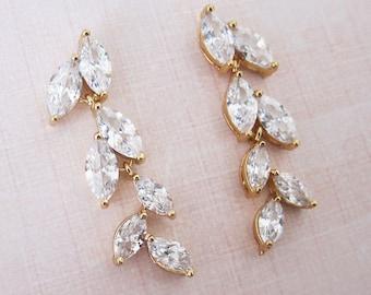 Wedding Earrings, Bridal Dangling Earrings, Leaf Botanical Earrings, Gold Wedding Earrings, Marquise Chandelier Earrings - 'AVITA'
