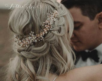 """Boho Hair Halo Bridal Flower Hair Crown Hair Wreath Vine with Pearls in Antique Gold, Rose Gold, Gold, Antique Silver, """"Zinnia"""""""