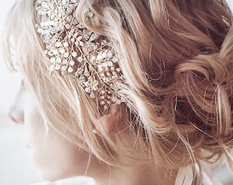 "Wedding Hair Accessory , Boho Bridal Hair Vine Headpiece, Vintage Style Headband Hair Vine, ""Zoya"""