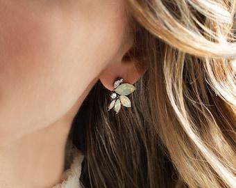 Wedding Stud Earrings, Vintage Antique Style, Bridal Earrings in Opal, Champagne, Blue, Green, Pink, Clear - 'NICOLETTE'