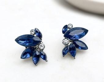 Bridal Stud Earrings, Antique Vintage Style, Bridal Earrings in Opal, Champagne, Blue, Green, Pink, Clear - 'NICOLETTE'