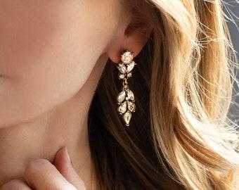 Antique Style Clip-On or Post Boho Wedding Earrings, Vintage Style Dangling Bridal Earrings, Bridesmaids Earrings - 'BORDEAUX'
