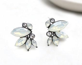 Vintage Style Bridesmaids Earrings, Boho Antique Silver Bridal Stud, Opal, Blue, Green Earrings Earrings, Marquise Stone - 'NICOLETTE'