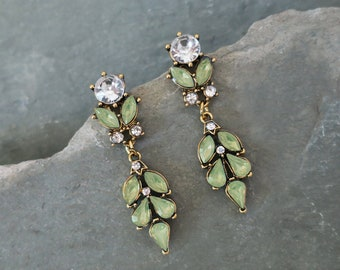 "Vintage Boho Style Bridesmaid Earrings, Dangling Wedding Earrings, Bridesmaids Gifts, Green, Blue, Pink - ""BORDEAUX"""