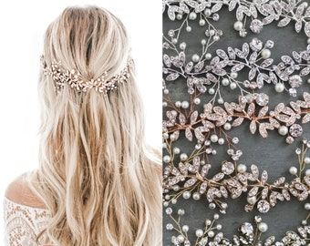 LOWEST PRICE EVER! Boho Wedding Hair Accessory  Bridal Hair Vine  with Leaves Pearls Crystals  - 'Lyra'