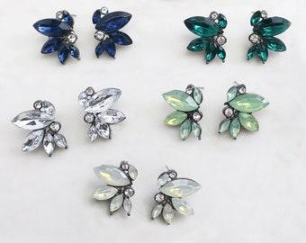 Bridesmaids Earrings, Vintage Boho Antique Silver Crystal Bridal Stud Earrings, Color Crystal Earrings Bridal Earrings - 'NICOLETTE'
