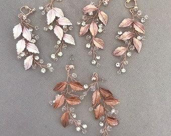 "Boho Bridesmaids Bridal Earrings in Silver, Gold, Rose Gold, Champagne, Bronze, Bridal Pixie Leaf Woodland Earrings - ""NAIDA"""