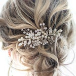 """Wedding boho beaded hair comb accessory with pearls, crystals, leaves by lottiedadesigns in silver, gold, antique, rose gold """"Zara"""""""