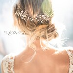 """Boho wedding wire hair vine with pearl and flowers in antique gold, silver, rose gold, metal flower crown """"Zinnia"""""""