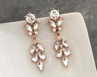 Antique Style Boho Bridal Earrings, Vintage Style Dangling Bridal Earrings, Antique Gold, Rose Gold, Silver Bridesmaid Earrings - 'BORDEAUX'