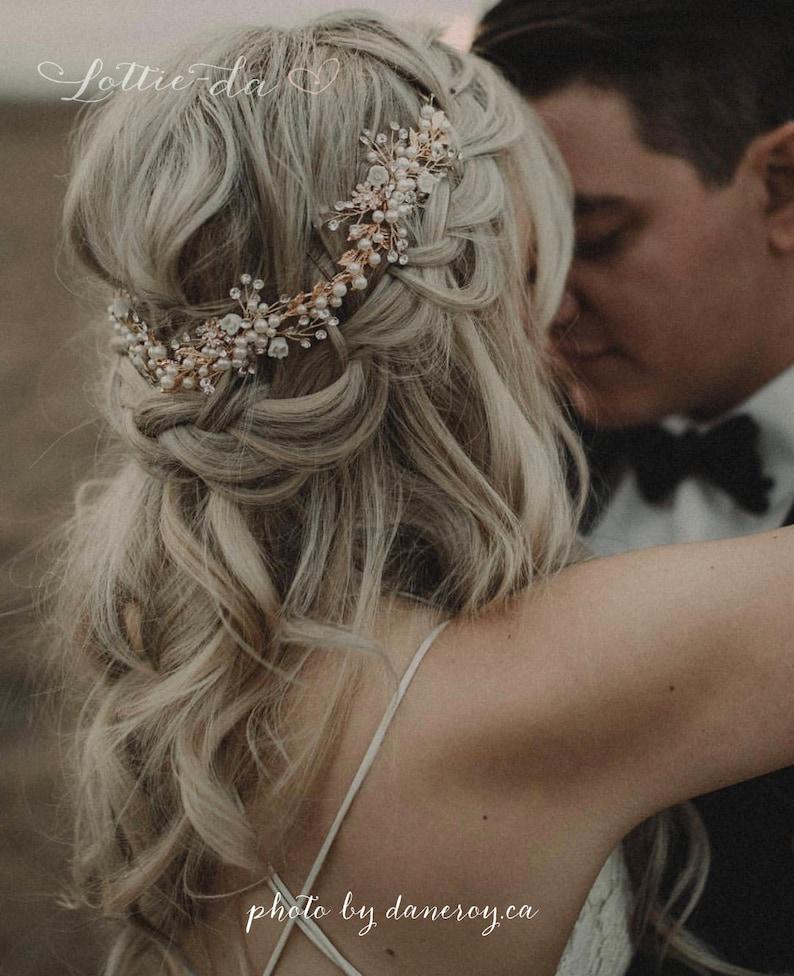 Boho Hair Halo Bridal Flower Hair Crown Hair Wreath Vine with Rose Gold