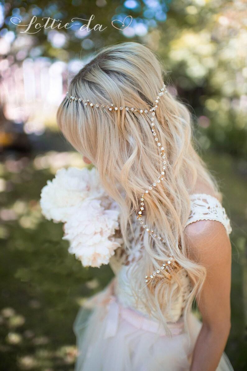 Gold or Silver Boho Hair Vine Long Hair Vine Boho Bridal image 0
