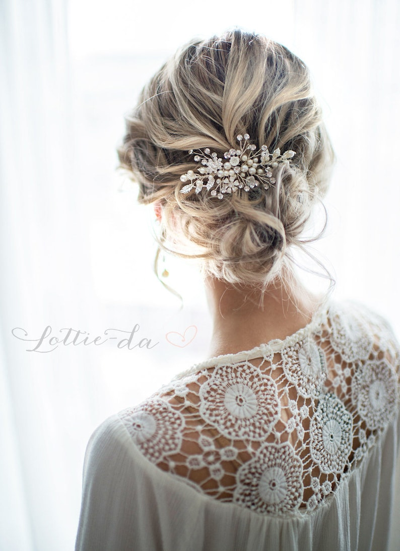 Wedding bridal boho hair comb Bridesmaid hair accessory Silver