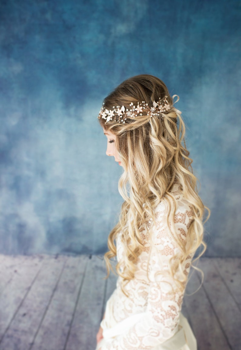 Wedding Headpiece Hair Accessory Bridal Boho Halo Crown Hair image 0