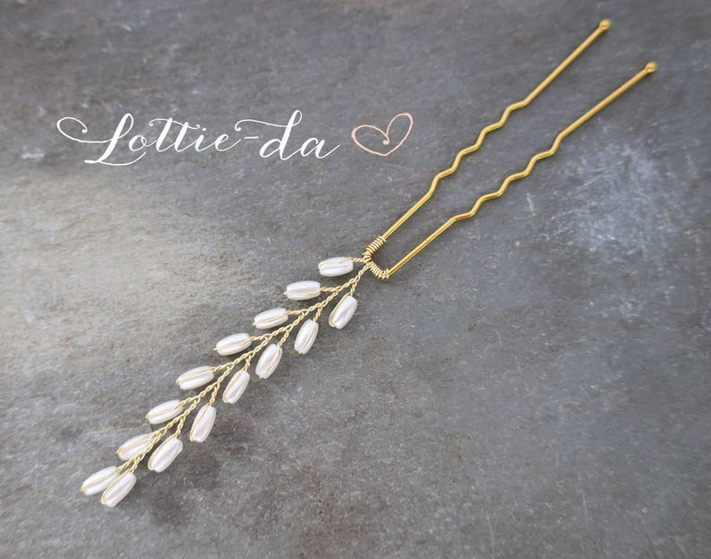 Boho hair accessory Pearl Gold Hair Pin Set /'SKYE/' Wedding Hair Pin Set Bridesmaid Hair Pin