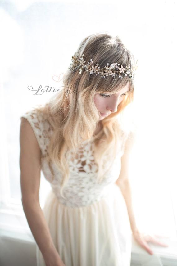 Grecian Gold Hair Wreath Gold Silver Rose Gold Boho Hair Half Halo Hair Vine /'EMBER/' Vintage Style Wedding Hair Vine Flower headband