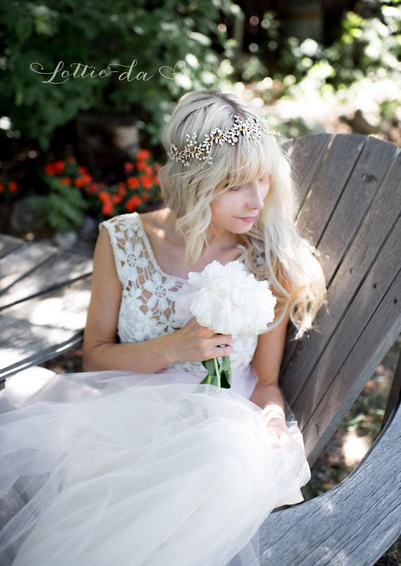 Boho Beaded Leaf Crystal Hair Vine Boho Wedding Headpiece Bridal Hair Wreath Halo Wedding Pearl Hair Vine Lyra