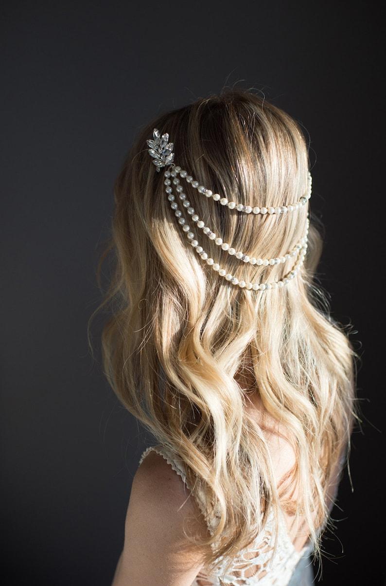 Pearl bridal hair chain Vintage Style Bridal Hair Wrap image 0