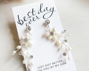 "Bridesmaid Proposal Boho Wedding Vine Earrings in Silver, Gold or Rose Gold, Bridal Flower Pearl Vine Earrings - ""POPPY"""