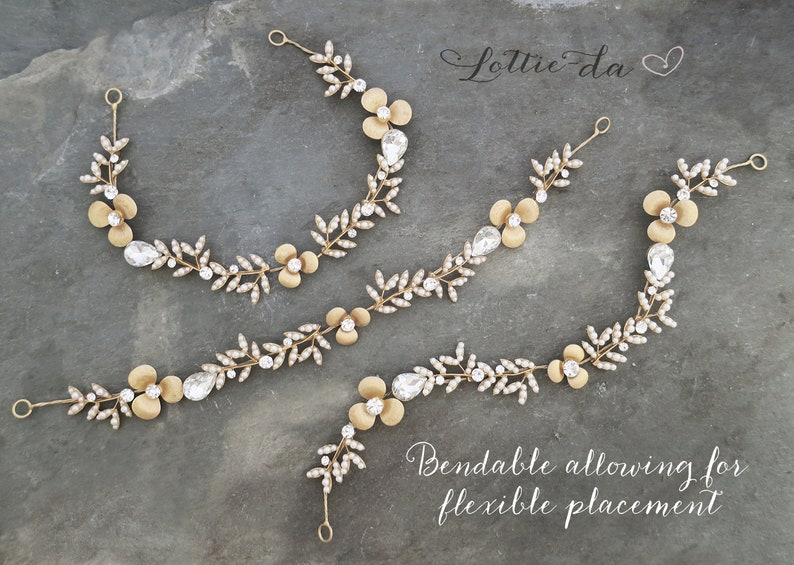 Ember Boho Wedding Metal Flower Crown Half Halo Hair Vine Vintage Style Grecian Gold Hair Wreath Headband