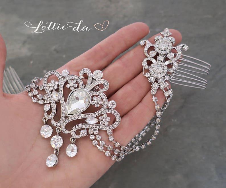 Boho Bridal Hair Comb /'VICTORIA/' Grecian Crystal Comb Hair Chain Vintage Style Bridal Hair Accessory Wedding Hair Accessory
