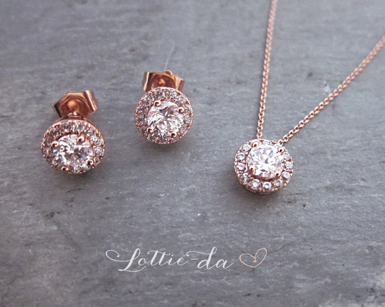 1920s Button Earrings Rose Gold Rose Gold Wedding Earring Necklace Set /'AUTUMN/' Wedding Earrings Vintage Style Bridal Stud Earrings