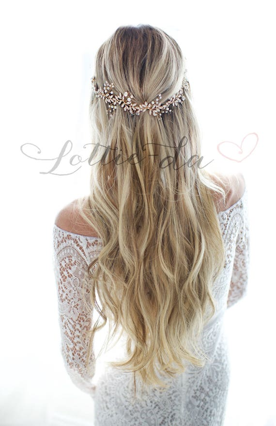 Boho Wedding Hair Piece Hair Vine Leaf Flower Wedding Crown Half Halo In Gold Silver Rose Gold Antique Gold Antique Silver Lyra