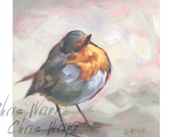 Euruopean Robin Painting, Bird Lovers Gift 5x5 inches, Great Gift for a Bird Watcher