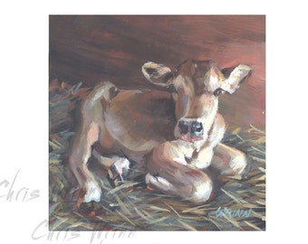 Cow Painting, Dairy Jersey Calf Original Painting - 6x6 inches, Farm