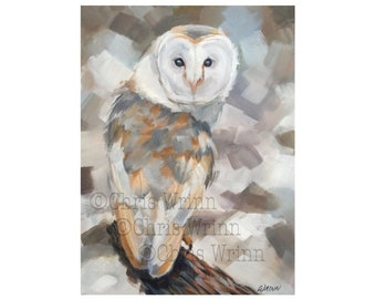 Barn Owl painting, Original 9 x 12 inch on Stretched Canvas, Neutral Tones