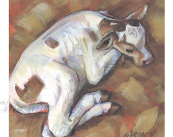 Cow Painting, White Calf Original Painting - 6x6 inches on Panel, Dairy Cow